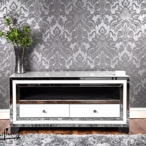 white mirror tv unit