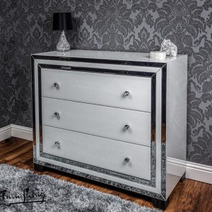 White mirror 3 drawer chest