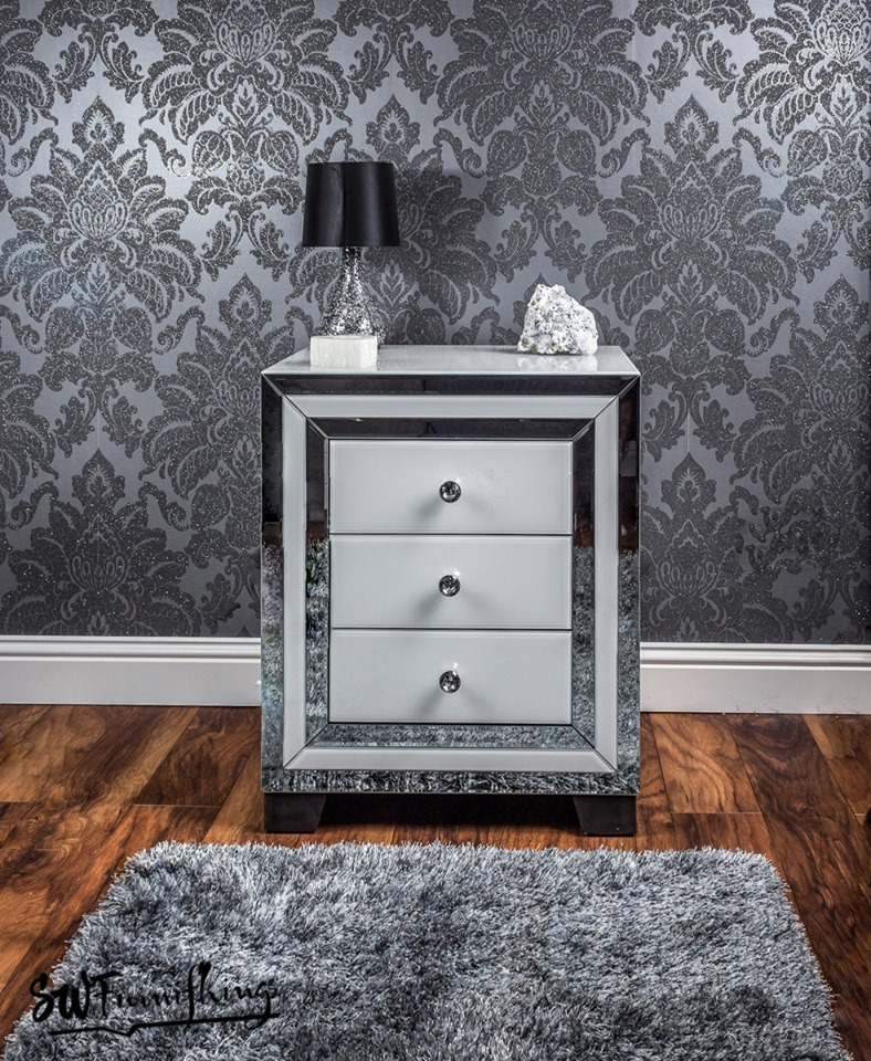 White mirror bedside table