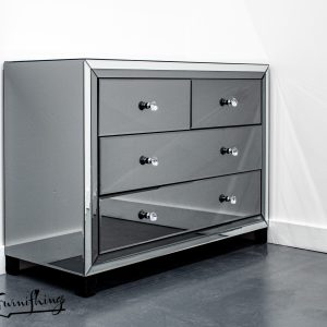 smoked mirror chest of drawers