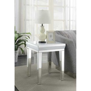 white mirror side table