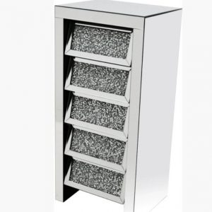 diamond crush 5 drawer tallboy