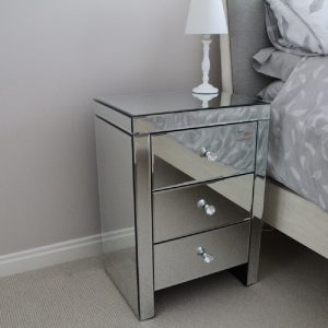 mirrored 3 drawer