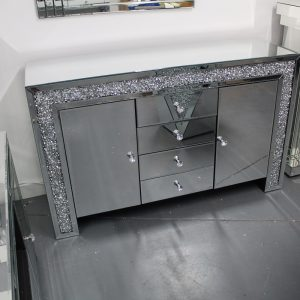 diamond crush mirrored sideboard