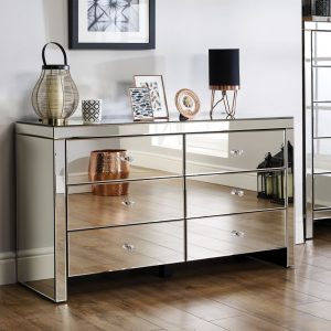 Mirrored 6 drawer chest