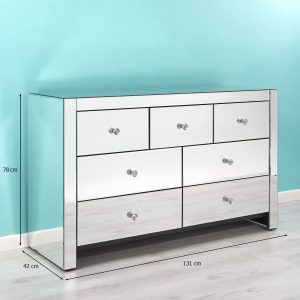 Mirrored 7 drawer chest
