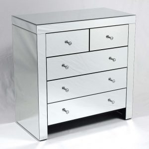 Tate Mirrored 5 drawer chest of drawers