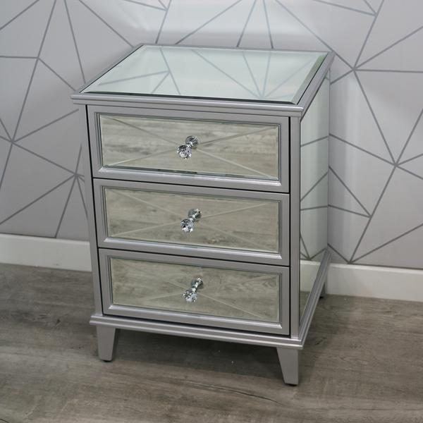 Saltire mirrored bedside table