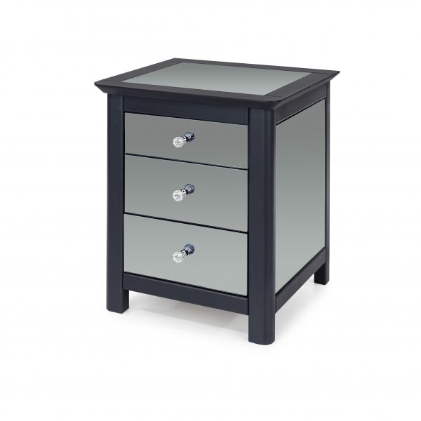 Ayr mirrored + wooden 3 drawer bedside table