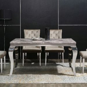 Beige Marble Dinning Table & 4 Chairs