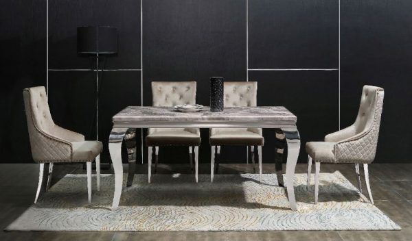 Marble Dinning Table & 4 Chairs