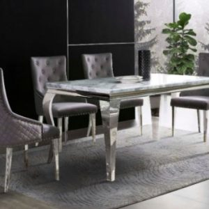 MARBLE DINNING TABLE & 4 KNOCKERBACK CHAIRS