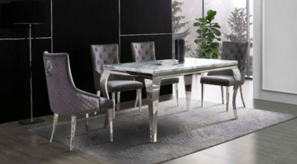 GREY MARBLE DINNING TABLE & 4 KNOCKERBACK CHAIRS
