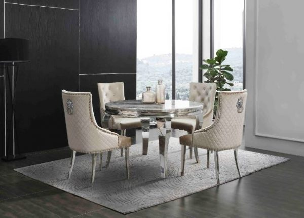 Round Marble Table with 4 Chairs