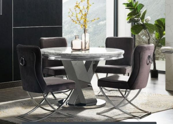 Marble Cross Round Table & 4 Chairs