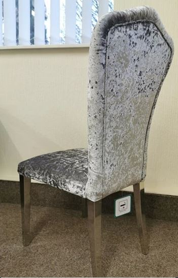 ALICE CRUSHED VELVET DINING CHAIR – Silver