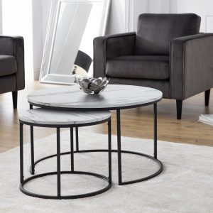 Bellini Round Nesting Coffee Table - White Marble