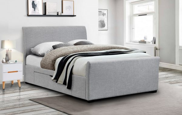 Capri Fabric Bed with 2 Drawers - Light Grey Linen King size