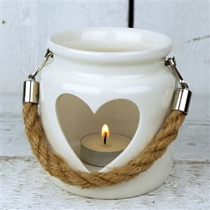 Heart Porcelain T Light Holder with rope handle