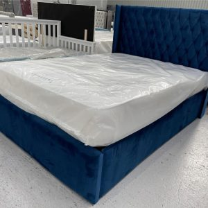 Regal Navy Ottoman Wing Bed
